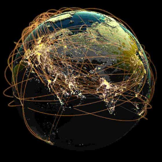 Global economy globe with criss-crossing connections