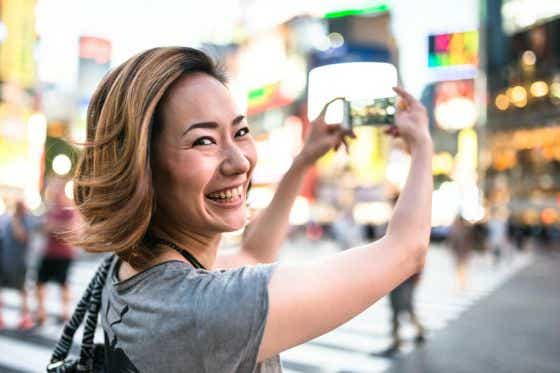 Where to next? Woman takes a selfie
