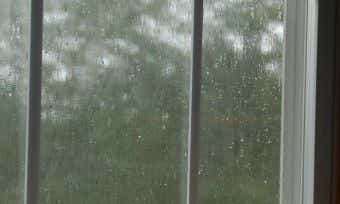 Lots of rain outside the window