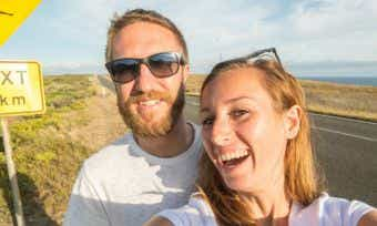 couple taking holiday selfie in australia