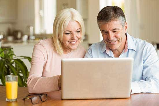 Old Couple using computer