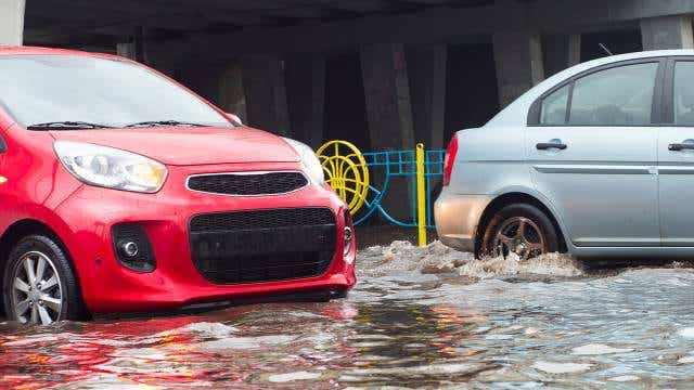Cars caught in floodwater