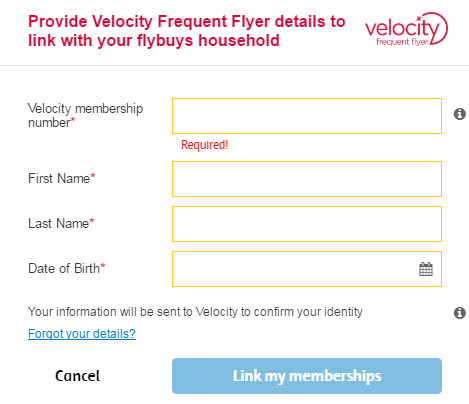 Flybuys - Link a velocity membership