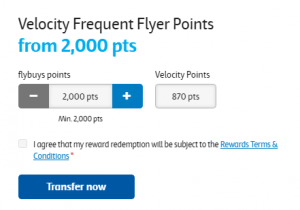 Transfering flybuys points to Velocity