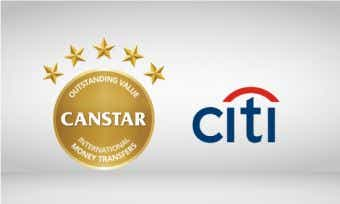 Citi wins Canstar 5 star award for outstanding value international money transfers
