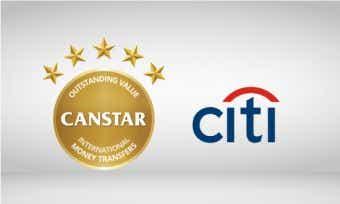 Citi wins Canstar 5 star award for outstanding value international money transfers