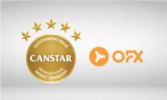 OFX wins Canstar 5 star award for outstanding value international money transfers