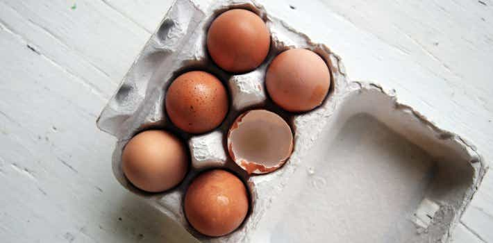 Eggs in a carton for investing