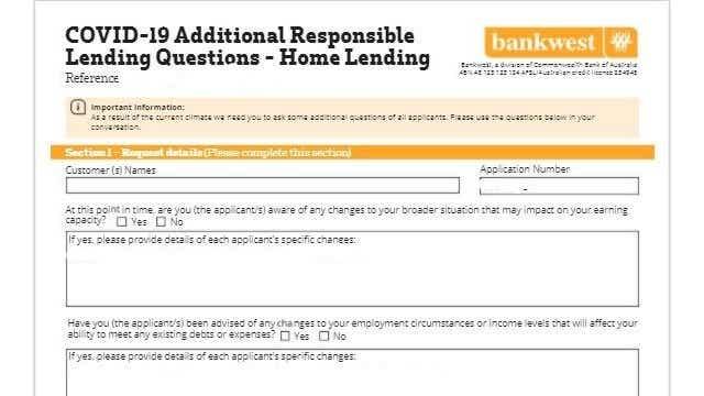 Bankwest's COVID-19 declaration form