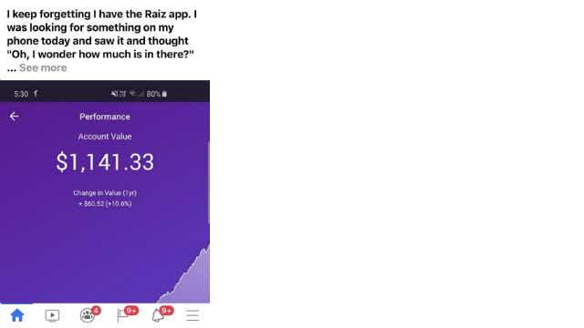 A screenshot from Facebook of a person's Raiz balance