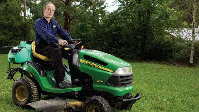Jim's mowing on mower