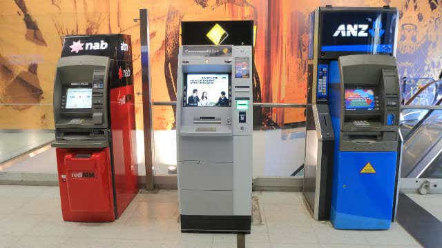A row of ATMs, from NAB, CommBank and ANZ