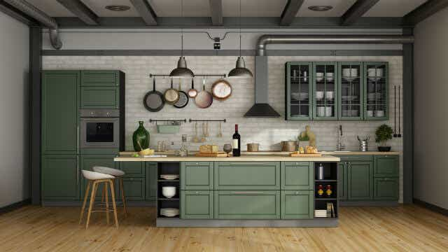 Green makes a subtle statement in this kitchen.