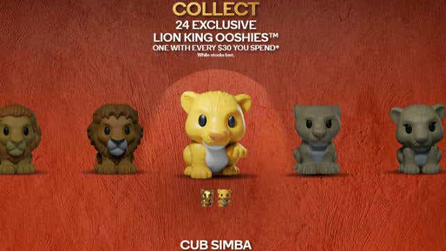 The Lion King Ooshies feature nine characters in 24 Ooshies.