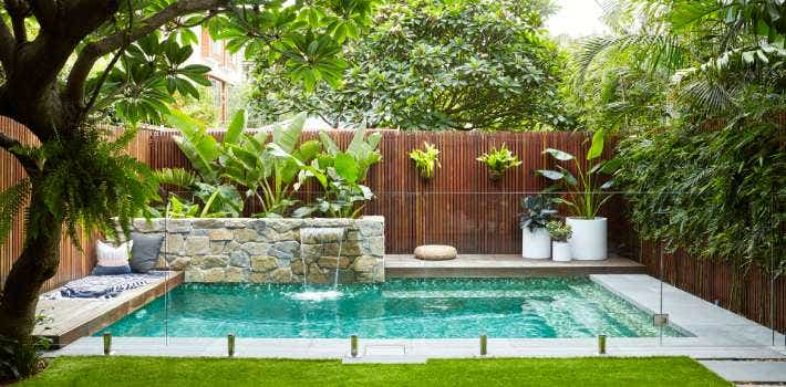 Swimming pool and landscaping by Harrison's landscaping