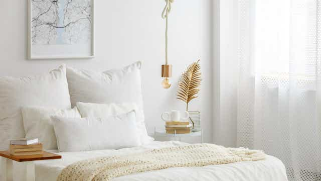 Gold accents lift this bedroom decor.