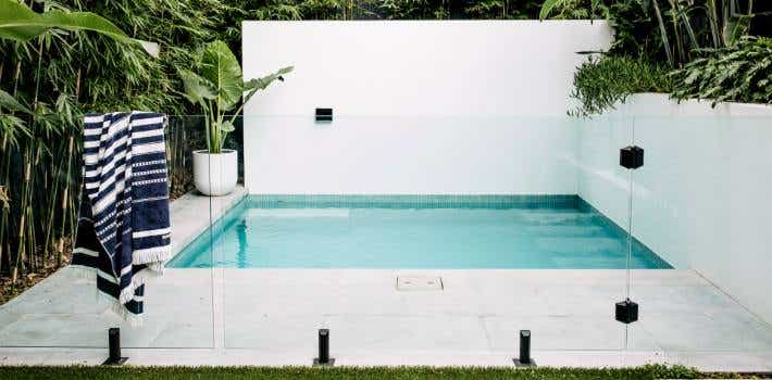 Landscaped swimming pool.