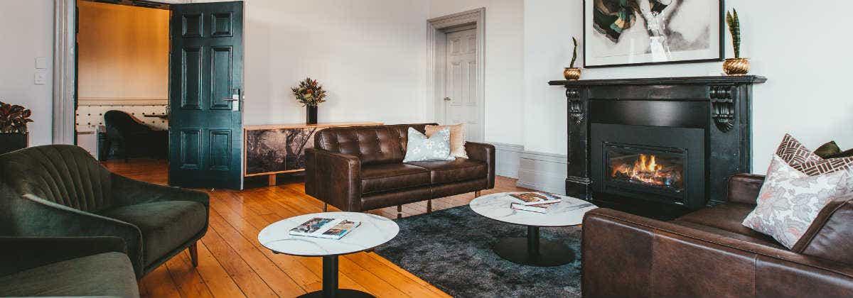 The sitting room at Maylands Lodge, Hobart.