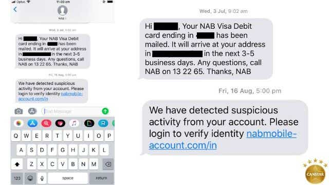 Image of a scam text message received from a National Australia Bank customer.