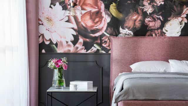 Wallpaper in a bedroom.