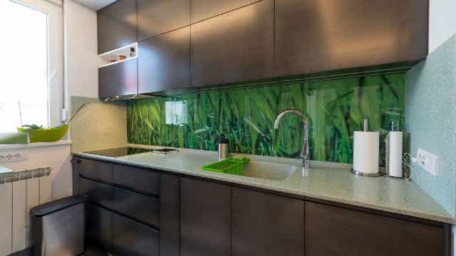 Glass splashback with digital print behind it.