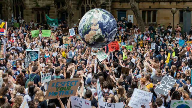 Large Group Of Students On Strike For Climate Change