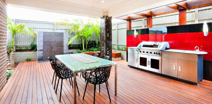 Furnished outdoor deck with BBQ