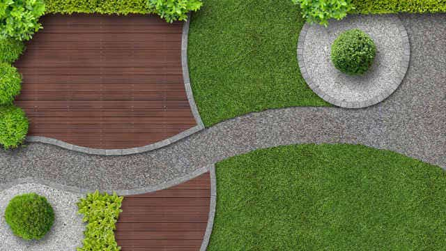 Pavers used as garden edging in a modern garden setting. Image: Wilm Ihlenfeld (Shutterstock)