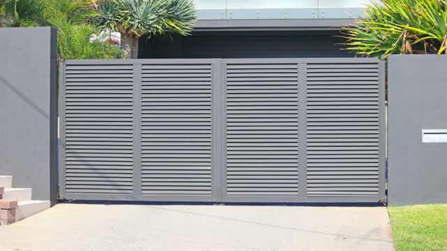 Grey louvre gate