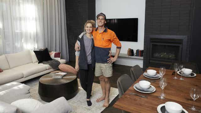 Tess and Luke's living and dining room, on The Block 2019. Image: Channel Nine