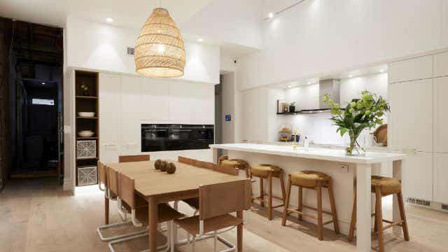 Deb and Andy's living and dining room, on The Block 2019. Image: Channel Nine