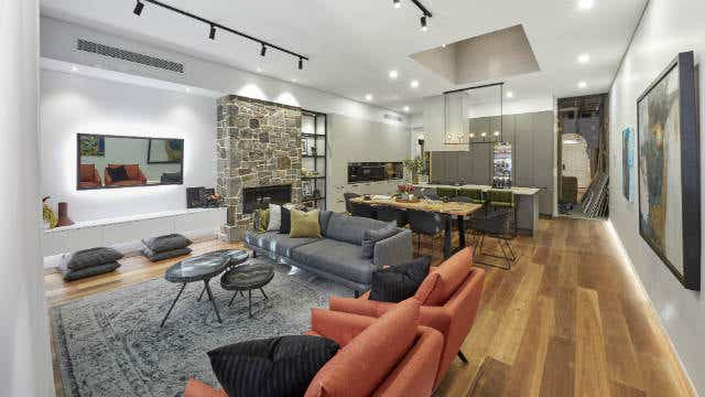 El'ise and Matt's living and dining room, on The Block 2019. Image: Channel Nine