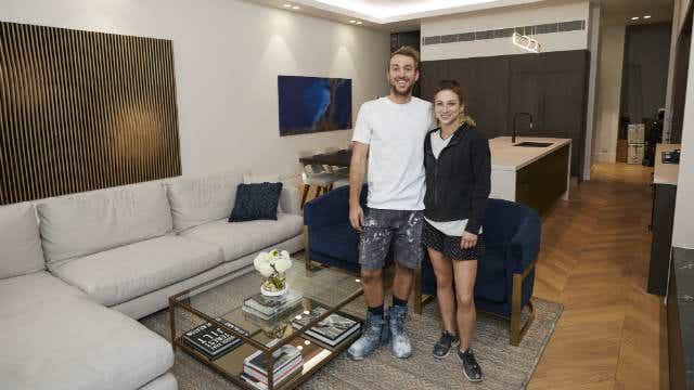 Jesse and Mel's winning living and dining room, on The Block 2019. Image: Channel Nine