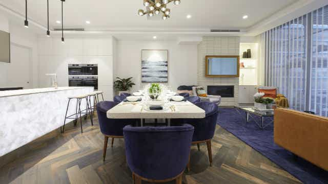 Mitch and Mark's living and dining room, on The Block 2019. Image: Channel Nine