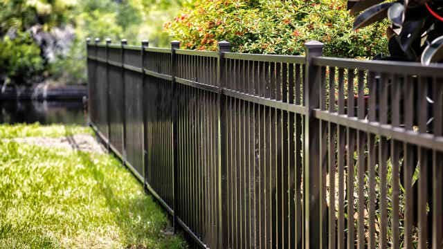 A picture of a black metal fence with greenery around it.