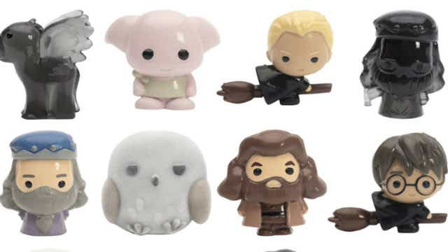 The range of Harry Potter Ooshies includes a rare Fury Hedwig (bottom row, second from left).
