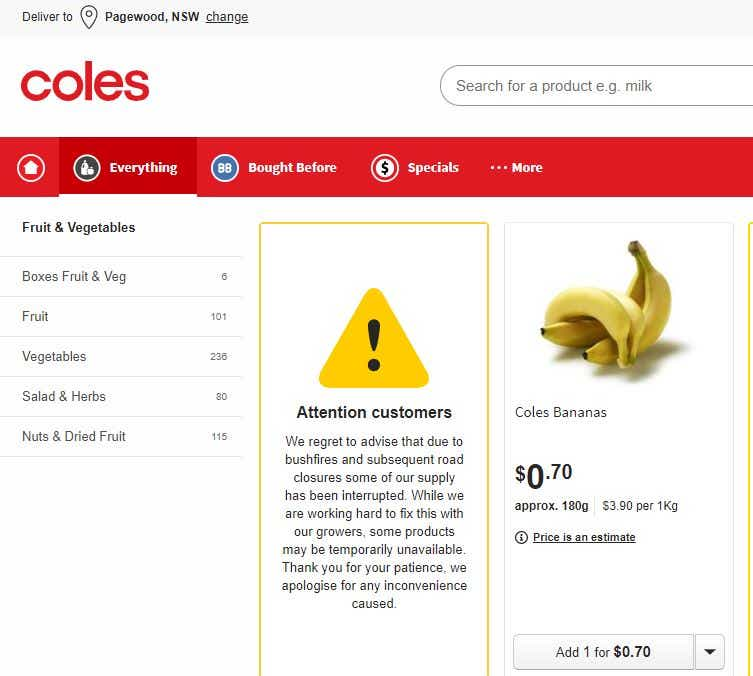 Coles fruit and vegetable supply warning