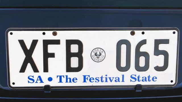 SA rego transfer number plate