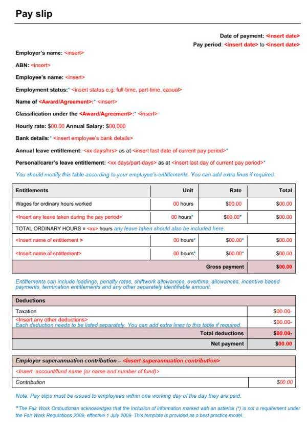 Payslip example from Fair Work Ombudsman