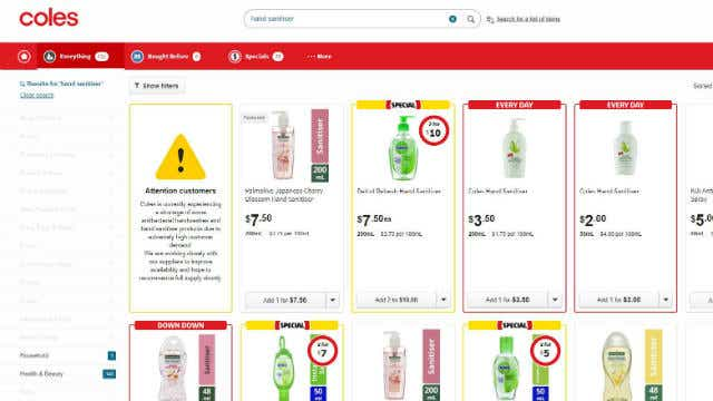 A screenshot of Coles Online's warning to customers about low supplies of hand sanitiser products, taken 7 January, 2020. Image: Canstar