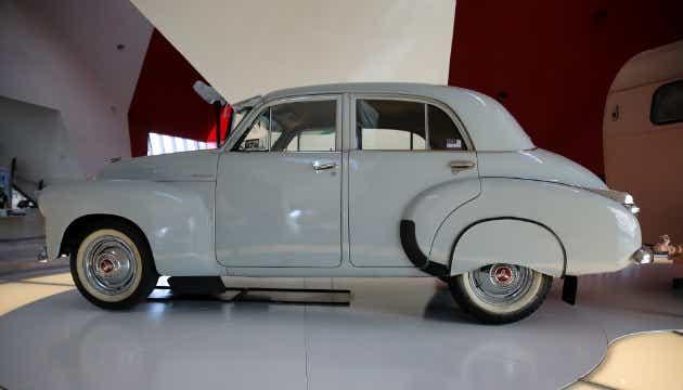 A white FJ Holden Classic car.