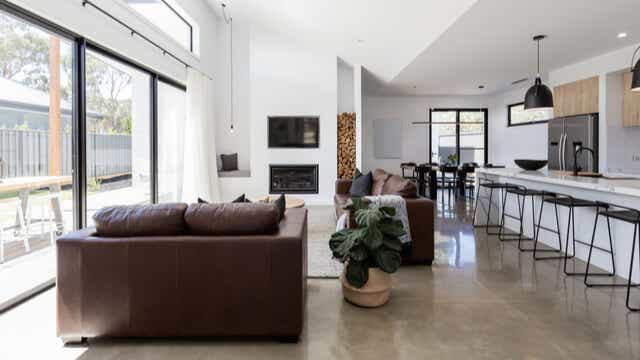 home with concrete floor