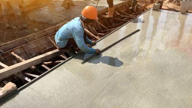 laying a concrete slab
