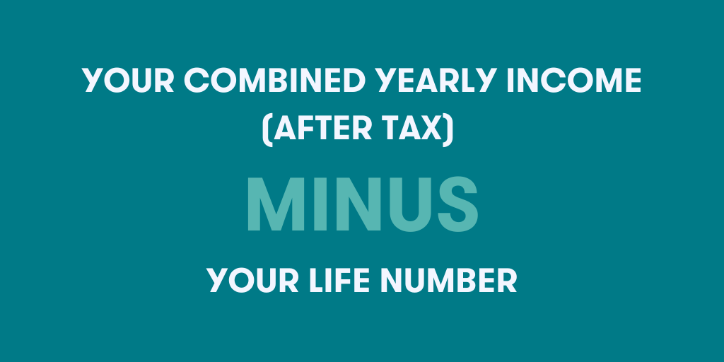 """Image with text saying """"your combined yearly income (after tax) minus your life number"""