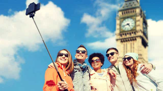 A group of tourists in London.