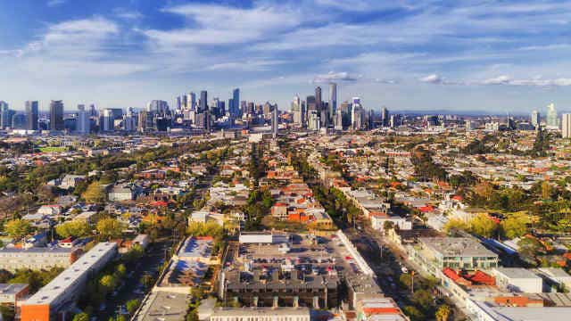 Aerial view of Melbourne city CBD