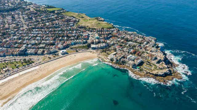 Aerial view over Bondi