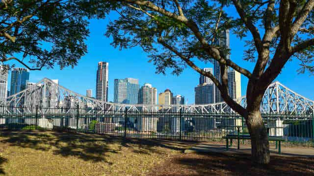 View of Brisbane skyline from New Farm