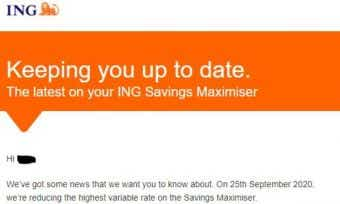 What is the new interest rate on ING's Savings Maximiser account?