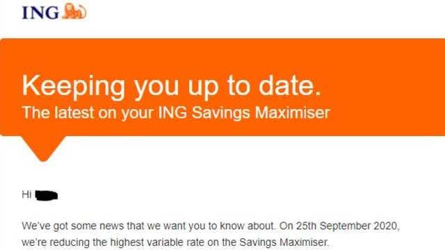 ING cut savings maximser on 25.09.2020